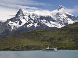 Cuernos Massif with Lake Shuttle Boat on Lago Pehoe