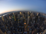 Fisheye View of Manhattan from Empire State Building Observation Deck