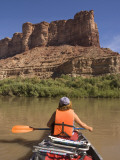Woman Paddling Canoe on Green River Canoe Trip