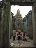 Local Family Paying Respects at Bayon Temple