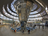 Visitors Inside Glass Dome on Top of German Parliamentary Building  the Reichstag  Mitte