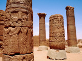 Ornate Columns in the Great Enclosure  Ancient Meroe Site  Musawarat North of Khartoum