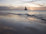 Catamaran at Sunset Seen from Bucuti Beach Resort on Eagle Beach
