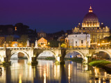 St Peter&#39;s Basilica from the Tiber River at Dusk