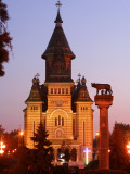 Orthodox Metropolitan Cathedral and Romulus and Remus Statue on Piata Victoriei