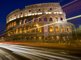 Traffic Trails and Collosseum (Colosseo) at Night from Via Dei Fori Imperiali