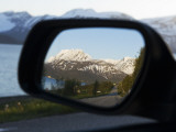 Reflection in Rearview Mirror of Lyngen Alps Surrounded by Kjosen Fjord