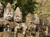 Giant Statues Lining Road at Entrance to South Gate of Angkor Thom