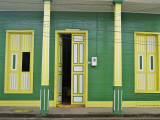 Restored Building in Green  Yellow and White