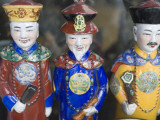 Three Porcelain Qing Dynasty Emperor Figurines at Yu Yuan Bazaaar  Old Shanghai