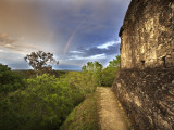 Sunset  with Double Rainbow  from Top of Temple 216 at Yaxha Site