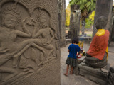 Girl Makes an Offering at Bayon Temple