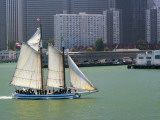 Skow Schooner 'Alma' under Full Sail Passing by Waterfront