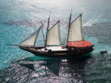 Aerial of Jolly Pirate Tourist Sail Boat Near Palm Beach