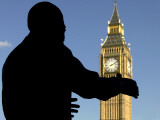 Nelson Mandela Statue and Big Ben  Parliament Square