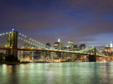 Brooklyn Bridge and Manhattan Skyline at Dusk