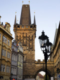 Mala Strana Bridge Tower and Buildings in Mostecka Street at Sunset