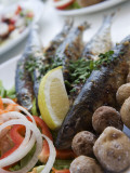 Grilled Sardines with Potatoes and Salad at Restaurant