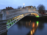 The Ha'Penny Bridge across the River Liffey Leading to Temple Bar Area