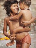 Big Sister Bathing Her Little Brother in Ganges River