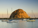 Boats Anchored Near Morro Rock at Sunrise  Seen from Embarcadero Waterfront Boulevard
