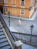 Stairs and Woman Walking  from Charles Bridge