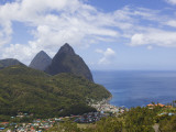 Rooftops of Soufriere and the Pitons