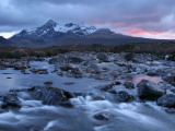 Sligachan River Flowing Down from Glen Below the Black Cuillin Range in Winter