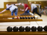 Candlepin Bowling Balls and Bowlers in Action at Sacco&#39;s Bowl Haven