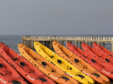Orange and Red Rental Kayaks on Beach