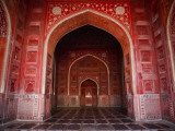 Interior of Red Sandstone Mosque in Grounds of Taj Mahal
