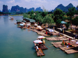 Tourists Raft Landing Site on Yukong River Near Yangshuo