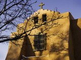Church in Sante Fe with Winter Snow