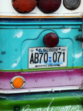 Detail of Numberplate at Back of &#39;Chicken Bus&#39;  Most Common Transport in El Salvador