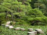 Stepping Stones across Soryu-Ike Pond in Naka Shin'En Garden  Within Heian-Jingu Shrine Complex