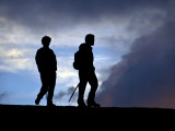 Two Men Hiking to Pacaya Volcano