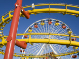 Ferris-Wheel and Roller Coaster  Pacific Park on Santa Monica Pier