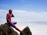 Man in Spiderman Costume on Mount Eniwa
