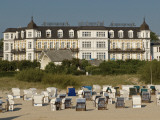 Hotel Ahlbecker Hof and Wicker Beach Chairs on Beach from Seebrucke Pier