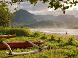 Outrigger Canoes at Hanalei Beach Park