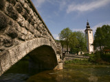 Stone Bridge Leading to St John the Baptist Church on Lake Bohinj (Bohinjsko Jezero)