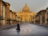 Nun Crossing Road in Front of St Peter&#39;s Basilica