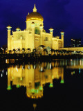 Omar Ali Saifuddien Mosque Reflected in Lagoon at Dusk
