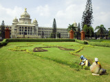 Workers on Lawn Outside the Vidhana Soudha  Which Houses the State Legislature