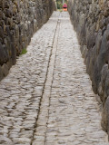 Stonework in Narrow Pedestrian Street  Laid Out in Inca Times