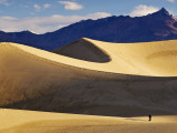 Hikers at Mesquite Flat Sand Dunes with Amargosa Range in Background