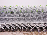 Line of Supermarket Shopping Trolleys