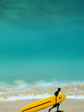 Boy with Yellow Surfboard at Waikiki Beach