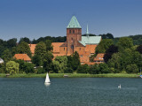 Romanesque Cathedral Seen across Grosser Ratzeburger See in Lauenburg Lakes Area
