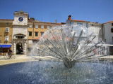 Dandelion Fountain in Frane Petrica Square (Trg Frane Petrica) with City Clock Beyond